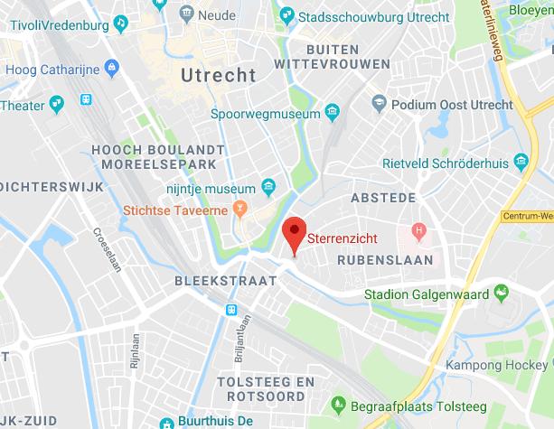 Het Leerstation in buurthuis Sterrenzicht op een kaart van Utrecht